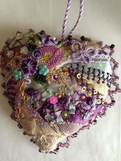 heart for Lydia, P Winter.this crazy quilt heart is loaded with beautiful stitchery!CQ heart for Lydia, P Winter.this crazy quilt heart is loaded with beautiful stitchery! Crazy Quilt Stitches, Crazy Quilt Blocks, Crazy Quilting, Silk Ribbon Embroidery, Embroidery Stitches, Hand Embroidery, Embroidery Ideas, Sewing Crafts, Sewing Projects