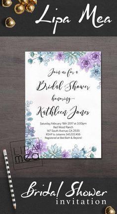 Succulent Bridal Shower Invitation, Floral Bridal Shower Invitation, Boho Bridal Shower Invitation, Purple Bohemian Bridal Shower Invite. lipamea.etsy.com
