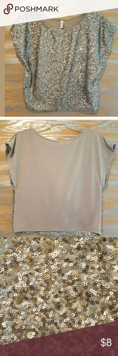 "XHILARATION taupe sequined boxy crop top t-shirt pit to pit: 20"" neck to hem: 17.5 tiny pin hole and loose stitching on back hem (see pics for examples)?  overall good preowned condition with standard wear from age and use? Xhilaration Tops"