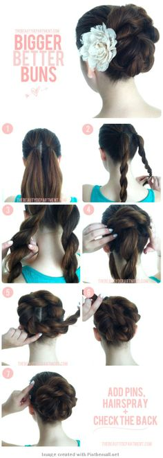 Make a simple, elegant and chic bun with two rope braids.