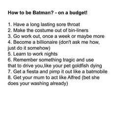 How to be Batman on a budget?