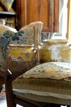 antique french Aubusson pillows with confit pots