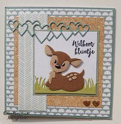 Creaties van Marjolein: Hert #6 op nummer 1! Marianne Design Cards, Baby Cards, Pigs