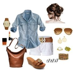 Love this outfit minus the jewelry :)  #summer outfit #shorts