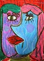 Oil pastel Picasso face