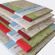 Recycled vintage map notebook  by:-sayit