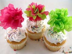 tissue paper pom poms for cupcake toppers   12 Multicolor Tissue Pom Cupcake Toppers ... Pick Your Colors - DIY ...