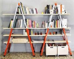 Here is another creative way to use ladders as part of your interior design.    Don't forget to check out all the other ladder ideas in this album too.