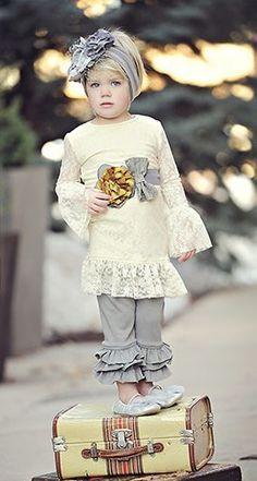 cream lace top and skinny ruffle leggings - are you kidding me??? Sooo cute!