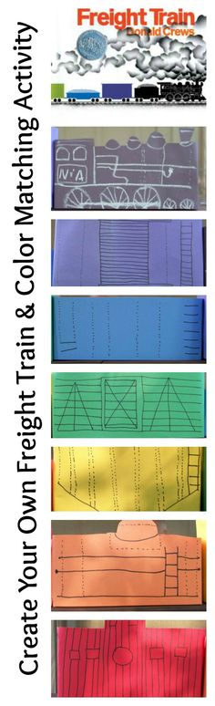 """{Create Your Own Freight Train & Color Matching Activity}  This engaging activity is great for fine motor skills, learning colors & pairs with Donald Crews' book """"Freight Train"""""""