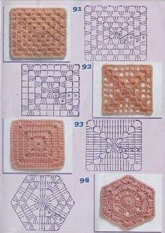 Crochet Granny Square Rose Color Combos 38 Ideas For 2019 Point Granny Au Crochet, Granny Square Crochet Pattern, Crochet Diagram, Crochet Chart, Crochet Squares, Granny Squares, Granny Square Tutorial, Hexagon Pattern, Crochet Edging Patterns