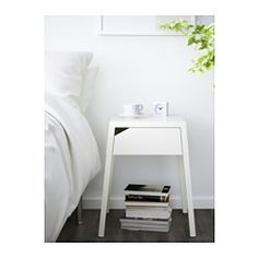 IKEA - SELJE, Nightstand, red, , In the drawer there is room for an power strip for your chargers.You can run the plug to the outlet between the back of the drawer and the back panel.