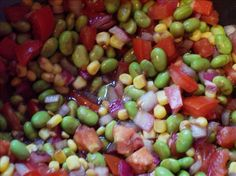 1 1/2 cups shelled edamame; 1 cup corn; 3 roma tomatoes, diced; 1/4 cup cilantro, chopped; 1 garlic clove, crushed; 1 jalapeno chile, seeded and diced; 1 tbsp evoo; 1 tbsp balsamic vinegar; 2 tsp lime juice; salt & pepper