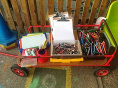 Mark making outdoor trolley - Modern Outdoor Classroom, Outdoor School, New Classroom, Classroom Ideas, Forest School Activities, Work Activities, Activity Ideas, Eyfs Outdoor Area, Outdoor Fun