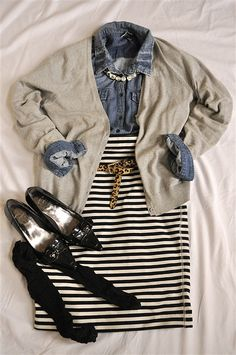 Chambray and Striped Jersey Skirt