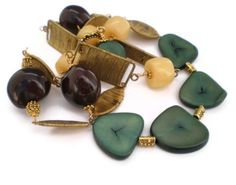 Tagu Beads with Hawaiian Seed Pods and Yellow Jade Gold Plated Woven Findings Gold Plated Necklace