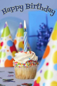 -Birthday cupcake with party hats and gift Birthday Greetings For Women, Happy Birthday Wishes Images, Birthday Wishes Cards, Birthday Images, Happy Birthday Cupcakes, Birthday Pins, Happy Birthday Beautiful, First Birthday Decorations, Happy B Day