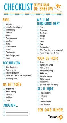 Checklist skivakantie   Koffer Inpakken Wintersport