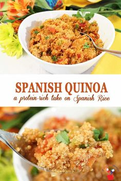 quinoa recipes Spanish Quinoa is a protein-boosted take on your favorite. All the same delicious flavors of tomatoes, onions, peppers and diced green chiles are there and it takes less than 30 minutes from start to finish. Quinoa Recipes Easy, Rice Recipes For Dinner, Side Dish Recipes, Mexican Food Recipes, Vegetarian Recipes, Healthy Recipes, Ethnic Recipes, Avocado Recipes, Quinoa Side Dish