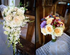 Knestrick by Design - Cascading White Bouquet with Roses and Dendrobium Orchids