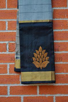 Ash Grey Kuppadam Saree with Broad Black/Zari Border with floral motifs - Aliveni - 1