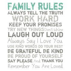 Family Rules Canvas Print I