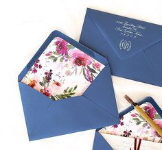 Custom floral Watercolor envelope liner for wedding invitation by Southern Fried Paper