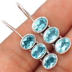 Blue Topaz 925 Sterling Silver Earrings Jewelry SE119266 | eBay