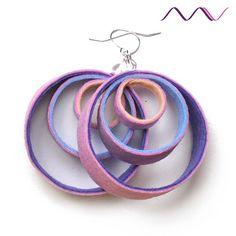 pastel pink violet blue felt hoop earrings / clipon by MadameVu