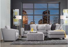 Ashford Landing Gray 3 Pc Sectional Living Room from  Furniture