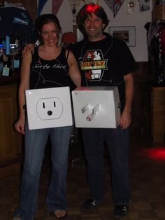 32 DIY Ideas for Couples Halloween Costumes - Get Plugged in with this DIY electrical outlet and plug costume for couples