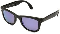 RayBan FOLDING WAYFARER  MATTE BLACK Frame GREY MIRROR PURPLE Lenses 50mm NonPolarized *** Check this awesome product by going to the link at the image.Note:It is affiliate link to Amazon. #followme