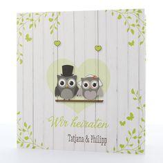 Lustige Hochzeitskarte mit Eulen