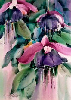 Gorgeous painting of fuschias - artist unknown.