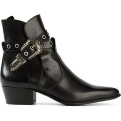 Saint Laurent Duckies Ankle Boots ($1,101) ❤ liked on Polyvore featuring shoes, boots, ankle booties, pointed-toe ankle boots, leather boots, black leather boots, black leather bootie and black pointed toe booties