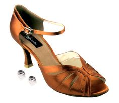 Very Fine Ladies Women Ballroom Dance Shoes EKCD6100 Dark Tan Satin 25 Heel 95M ** Click image for more details.(This is an Amazon affiliate link)