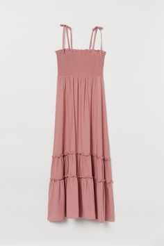 Smocked Maxi Dress - Dusty rose - Ladies | H&M US Dusty Rose Dress, Viscose Fabric, Fashion Company, Ruffle Trim, Smocking, Style Guides, Bodice, What To Wear, Summer Dresses