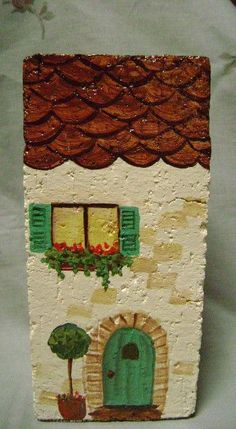 French Apartment Door Stop is a hand painted brick, painted on all four sides… Painted Bricks Crafts, Brick Crafts, Painted Pavers, Stone Crafts, Hand Painted Rocks, Pebble Painting, Pebble Art, Stone Painting, House Painting