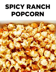 What do you get when you combine Sriracha sauce with Ranch seasonings A kickin batch of spicy and savory popcorn that s guaranteed to wake up your taste buds Spicy Popcorn, Popcorn Seasoning, Homemade Popcorn, Popcorn Snacks, Gourmet Popcorn, Popcorn Recipes, Popcorn Balls, Flavored Popcorn, Recipes