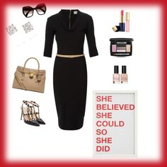 She Believed She Could by fromphilly on Polyvore featuring polyvore, fashion, style, Victoria Beckham, Valentino, Michael Kors, Anita Ko, Prada, Lancôme, Estée Lauder, Bobbi Brown Cosmetics and Pottery Barn