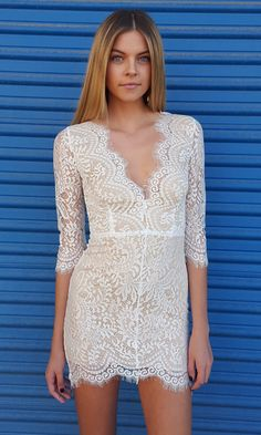 L/S Scallop Dress - White