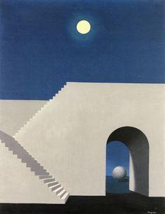 "René Magritte: ""Arquitectura al claro de luna"", 1956."