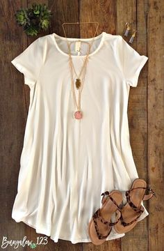 B123 Luxe Bamboo Tunic Dress - Ivory (Pre-Order)