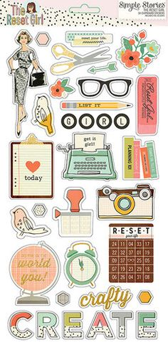 Simple Stories - The Reset Girl Collection - Chipboard Stickers