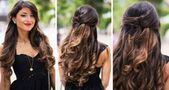Mimi Ikon, Owner Luxy Hair Hair Extensions Honey and Brown Ombre with Soft Curl… - All For Hairstyles DIY Bride Hairstyles, Down Hairstyles, Trendy Hairstyles, Prom Hair Medium, Medium Hair Styles, Long Hair Styles, Prom Hair Down, Prom Hair Updo, Easy Summer Hairstyles
