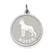 Boxer Disc Charm in Sterling Silver
