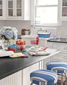 red white and blue in a white kitchen