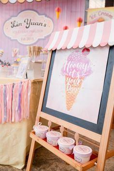 fiesta de helado para niños