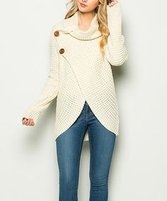 Take a look at this Ivory Button-Accent Cowl Neck Sweater - Women today! Cold Weather Fashion, Winter Fashion, Modest Outfits, Casual Outfits, Sweater Making, Fall Winter Outfits, Cowl Neck, What To Wear, Sweaters For Women