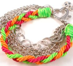 Tween Jewelry Chain Bracelet Neon Lime Green Hot Pink Bright Orange Chunky Heart Clasp One of a Kind. $22.00, via Etsy.